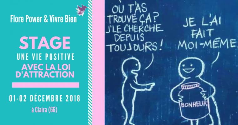 STAGE UNE VIE POSITIVE AVEC LA LOI D'ATTRACTION  (DÉCEMBRE 2018)
